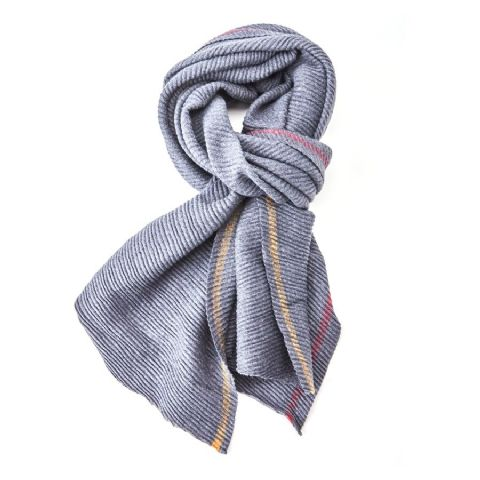 PLEATED THICK SCARF NAVY